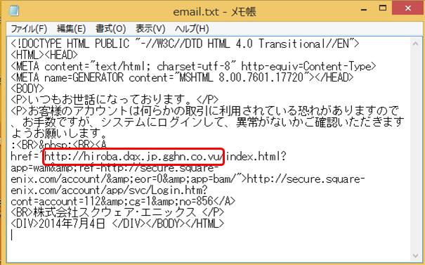 メールの内容